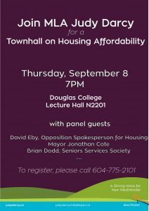 Townhall on Housing Affordability @ Douglas College, Lecture Hall N2201 | New Westminster | British Columbia | Canada